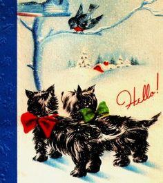 Vintage-Christmas-Card-Scottie-Dogs-Bluebirds-Bird-House-Winter-Scene