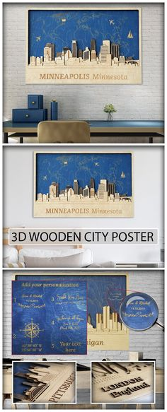 Minneapolis wooden poster Minneapolis decor Wood wall art Anniversary gift Housewarming deco Rustic Home Gift for husband 5 year anniversary Wood Wall Art, Wall Art Decor, Vertical City, Wooden Map, World Map Art, World Decor, American Decor, Wood Gifts, Gifts For Husband