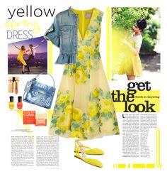 """In Yellow Dress"" by ellie366 ❤ liked on Polyvore featuring Lela Rose, Nine West, MSGM, Valentino, RALPH, Deborah Lippmann, Yves Saint Laurent, Michael Kors, denim and dress"