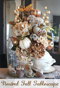 Neutral Fall Tablescape. Instructions on how to make the candlestick floral arrangement. Free Thankful printable! Design Dazzle #neutralfalldecor #michaelsmaker #freeprintable
