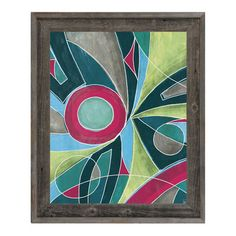 Click Wall Art Convergence Framed Painting Print on Canvas in Green and Pink Size:
