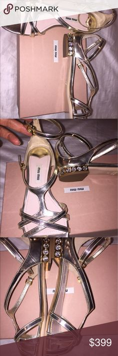 NEW Prada gold sandals crystal heeled 37 Brand new crystal-heeled Prada Size 37 gold sandals with double straps Prada Shoes Sandals