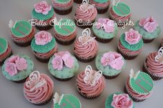 Chocolate fudge and rose musk Birthday cupcakes.  Cakes from Bella Capella Culinary Delights in Capella, Queensland's Central Highlands,  Australia.  Contact:  bellacapella@bigpond.com https://www.facebook.com/BellaCapellaCulinaryDelights