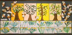 1. třída - včelky z ruličky od toaletního papíru, otisky listů pampelišek, strom - práce skupinky