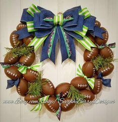 Football Wreath - Seattle Seahawks inspired - Go Hawks - -NFL - Front Door Wreath- Sports Wreath - Football decor Diy Fall Wreath, Wreath Crafts, Holiday Wreaths, Flower Crafts, Football Crafts, Football Wreath, Football Decor, Diy Arts And Crafts, Fall Crafts