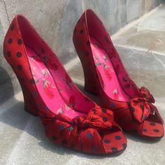 Betsey Johnson Shoes - Betsey Johnson red black polka dot satin wedges Polka Dot Shoes, Polka Dots, Shoes Heels Wedges, Wedge Heels, Rockabilly Shoes, Vintage Shoes, Red Black, Betsey Johnson, Peep Toe