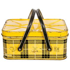 Vintage Tin Picnic Basket in Yellow Plaid.