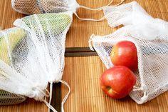DIY Produce bags using Dollar store mesh laundry bags.