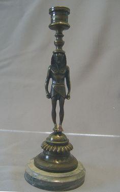 English Regency bronze candlestick in the goute d'Egypt. - Gavin Douglas Antiques