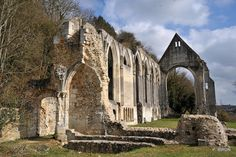 Ruins of Trinité Beaumont-le-Roger priory, Normandy, France.