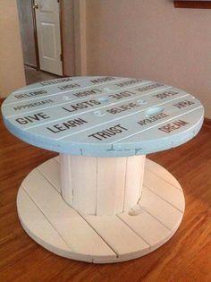 My spool table project. My spool table project. Drum Coffee Table, Wooden, Diy Furniture, Spool Furniture, Wooden Spool Tables, Wood Pallets, Wood Diy, Wooden Chair, Wooden Diy