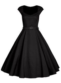 5a0c5998231e Amazon.com  Minifaceminigirl Women 1950s Vintage Retro Black Plus Size  Cocktail Swing Dress