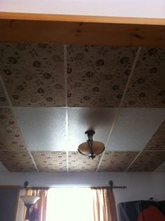 Drop Ceiling Makeover = Fabric + Staples = Voila!...Kari, very interesting....maybe worth a try for the bedroom when I redo it :)