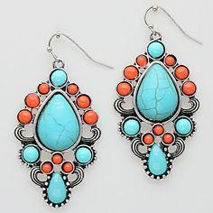 orange and turquoise earrings