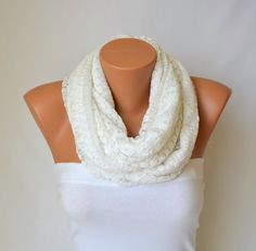 infinity scarf  white cotton lace loop scarf circle by bstyle, $22.00