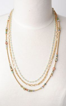 Harmony - Unique matte gold and gemstone collection features this matte gold and chalcedony multi strand necklace for women and is handmade in Floyd VA USA Old Jewelry, Jewelry Crafts, Beaded Jewelry, Jewelry Necklaces, Women Jewelry, Fashion Jewelry, Jewelry Making, Jewelry Ideas, Multi Layer Necklace