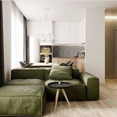Dark or forest green will be one of the main colors for interiors a shade that is inspired by the world of nature and. Living Pequeños, Home Living Room, Living Room Decor, White Interior Design, Interior Design Living Room, Living Room Designs, Small Apartment Interior, Apartment Design, Home Room Design
