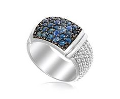 RICHARD CANNON Blue Sapphire Section Accented Popcorn Ring in Sterling Silver