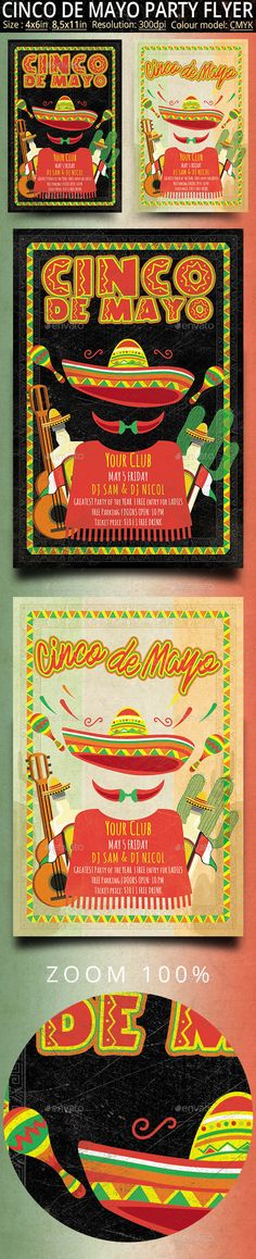 Cinco de Mayo Retro Vintage #Flyer - Clubs & Parties Events Download here:  https://graphicriver.net/item/cinco-de-mayo-retro-vintage-flyer/19763870?ref=alena994