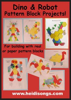 Dino & Robot Pattern Block Projects & Hexagon, Cylinder & Trapezoid Songs (from HeidiSongs) Here is how I am prepping to teach a first and second grade combination class (AKA split class) and how I will integrate HeidiSongs resources into it. Dinosaur Theme Preschool, Dinosaur Activities, Preschool Classroom, Kindergarten Math, Classroom Activities, Future Classroom, Pattern Block Templates, Pattern Blocks, Robot Theme