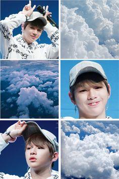 WANNA ONE Daniel Kang wallpaper edit #blue #white #clouds #aesthetic #kpop @ksockjin