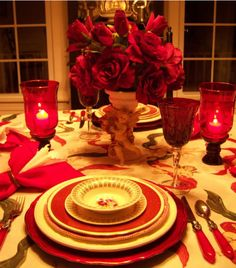 V-Day table setting decor
