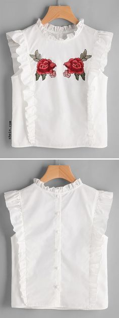 White Embroidered Rose Patch Ruffle Detail Button Back Blouse Fashion Kids, Womens Fashion, Fashion Design, Latest Fashion, Fashion Trends, Girl Outfits, Casual Outfits, Diy Clothes, Clothes For Women