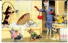 Cartão Postal Alfred Mainzer Original ~ Gatos fazendo poças durante o banho Play # 4860 in Colecionáveis, Cartões postais, Animais   eBay