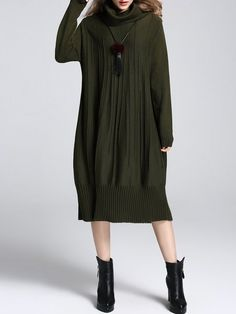 Shop Midi Dresses - Army Green Turtleneck Long Sleeve Sweater Dress online. Discover unique designers fashion at StyleWe.com.