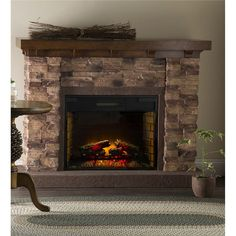 Quartz Infrared Stone Fireplace * You can get additional details at the image link. (This is an affiliate link and I receive a commission for the sales) Stone Electric Fireplace, Electric Fireplaces, Stone Fireplaces, Wood Mantle Fireplace, Fireplace Ideas, Mantel Shelf, Farmhouse Fireplace, Fireplace Inserts, Rustic Farmhouse