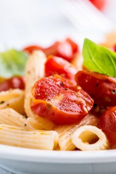Penne with Mascarpone Cheese and Roasted Cherry Tomatoes #Recipe #Pasta
