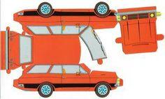 brinquedos de papel para imprimir recortar montar carros Paper Model Car, Paper Car, Paper Plane, Paper Models, Cardboard Toys, Paper Toys, Rc Chassis, Bus Vw, Paper Train