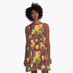 'Leaves and golden orb abstract' A-Line Dress by Amanda D-Hay Valentines Day Hearts, Buy Prints, Fashion Prints, I Dress, Plus Size Fashion, Neon, Style Inspiration, Summer Dresses, Pretty
