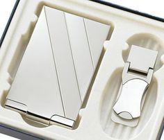 Silver Money Clip & Business Card Case Gift Set - Create A Favor