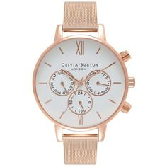 Olivia Burton Chrono Detail White Dial Mesh Watch - Rose Gold (€185) ❤ liked on Polyvore featuring jewelry, watches, rose gold, leather-strap watches, olivia burton watches, engraved jewelry, christmas watches and rose gold jewelry