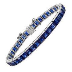 Square-Cut Sapphire Line Bracelet