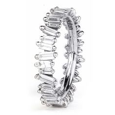 Stacked Bands — Suzanne Kalan 18K White Gold Baguette Band
