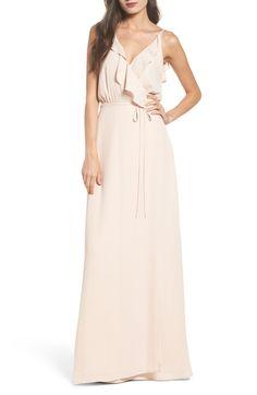 Jamie Ruffle Wrap Gown, Main, color, Sandalwood