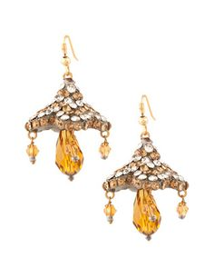 Sparkling Golden Lac Flower Drop Earrings | Rs. 350 | http://voylla.com