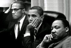An image showing former President Barack Obama meeting with activists Martin Luther King Jr. and Malcolm X is fake. Unless Obama's new post-White House job is that of a time traveler, it'… Black History Month, Black History Facts, Black Power, Malcolm X, Martin Luther King, Michelle Obama, Barack Obama, Kings & Queens, Presidente Obama