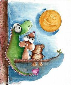 Original Watercolor Painting Art Illustration Mouse Teddy Bear Dragon Moon Tree | eBay