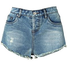 High waist short Nikkie denim, NIKKIE by Nikkie Plessen ($92) ❤ liked on Polyvore