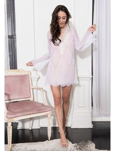 Adorned in lace, The Charlotte is a heavenly style. This Cami dress highlights a lace up neckline and bell sleeves. Can be worn with a nude bra. Lace Trim, Lace Up, Nightwear, Dress Skirt, Bell Sleeves, Charlotte, Cover Up, Pajamas, Girls Dresses