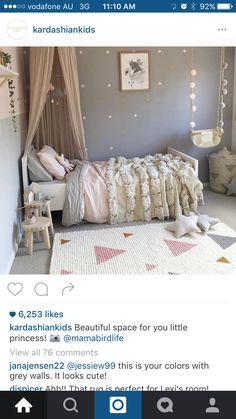 Hazels room. Grey walls polka dot wall decals