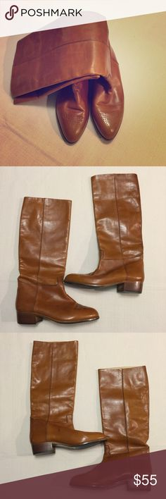 Joan & David Cognac Riding Boots These boots are in good condition and show some signs of wear, but are still beautiful. Made of high-quality super soft leather that also lines the interior. Joan & David Shoes