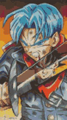 Dragonball Super - Trunks & Goku Black - 25 Colors Cross Stitch Pattern