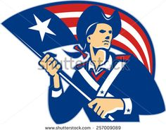 Illustration of an American patriot with stars and stripes flag on isolated white background done in retro style.