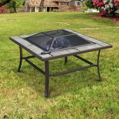 Fireplace Outdoor Wood Burning Fire Pit Patio Backyard Heater Table Deck Fire pit AosomUK - Home & Garden Specialist