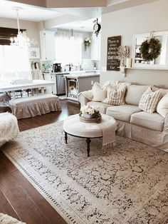 Make a slipcover to fit your sofa using a dropcloth Shabby Chic Farmhouse, Farmhouse Style, Farmhouse Decor, Cozy Family Rooms, Apartment Projects, French Country House, My Furniture, Take A Seat, Grey Walls