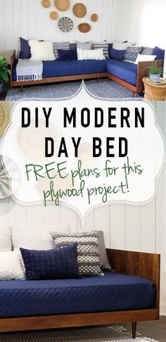 Build this Mid-Century modern daybed from simple building materials and plywood! Free plans!